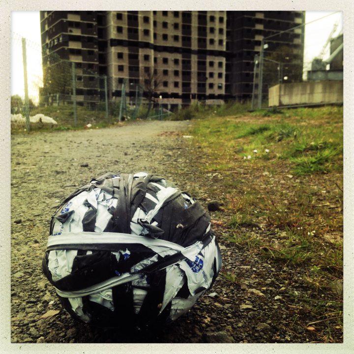Homemade football at Norfolk Court, Gorbals, Glasgow