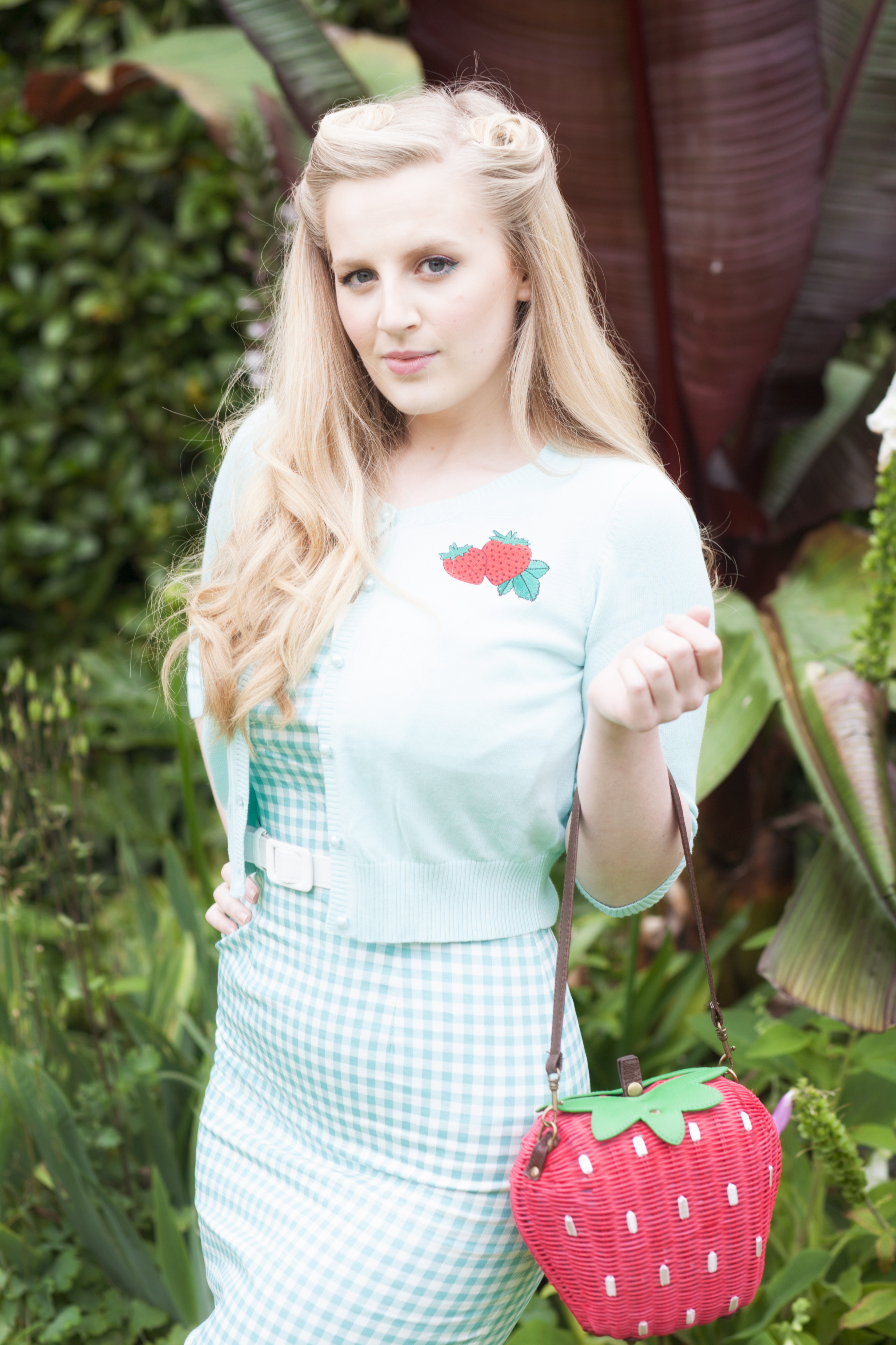 Abby Russell Wimbledon gingham dress and strawberry bag