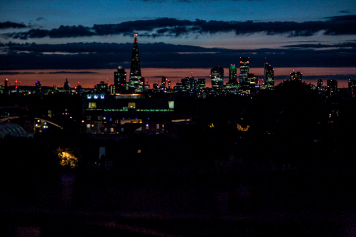 London Skyline from Frank's Café at sunset