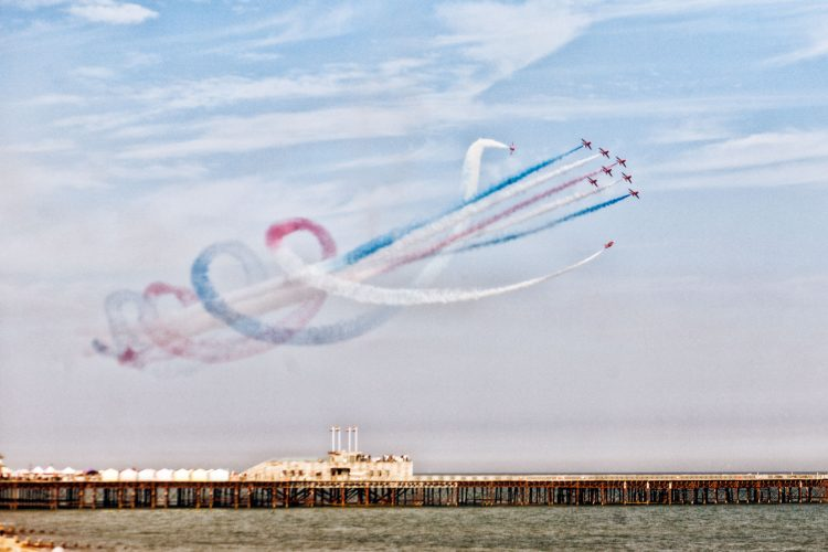 Red Arrows at Hastings Pier